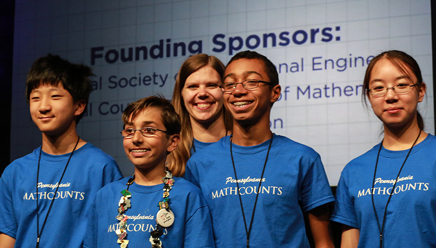 Students competiting in the MATHCOUNTS Competition Series.
