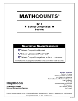 2014 MATHCOUNTS School Competition Cover